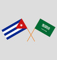 the cuban and ksa flags vector image vector image
