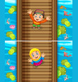 two scenes of muslim boy and girl on the bridge vector image vector image