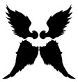 wings silhouettes drawing black white set 4 vector image vector image