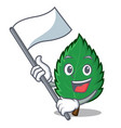 with flag mint leaves mascot cartoon vector image vector image