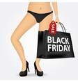 woman legs on high heels holding shopping bag vector image