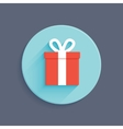 Flat style gift box icon vector image