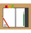 notebook and pencils vector image