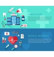 Set of health care and medical research concept vector image