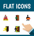 flat icon exit set of entrance evacuation vector image