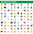 100 selfie icons set cartoon style vector image