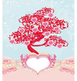 abstract heart tree - beautiful valentines card vector image