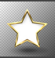 abstract shiny golden star frame with white empty vector image