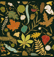 autumn seamless pattern set of colored leaves vector image