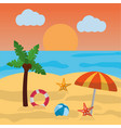 beach summer palm umbrella ball starfish sun cloud vector image vector image