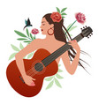 beautiful girl playing guitar surrounded birds vector image