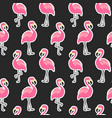 beautiful seamless pattern with flamingo stickers vector image