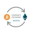 bitcoin and ethereum currency exchange vector image
