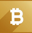 bitcoin symbol with long shadow vector image vector image