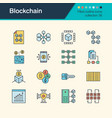 blockchain icons filled outline design collection vector image vector image