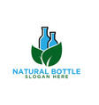 bottle and leaf logo design template vector image vector image