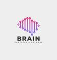brain tech digital logo template icon element vector image vector image