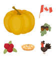 canada thanksgiving day cartoon icons in set vector image