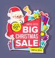 christmas big sale sticker santa claus vector image vector image