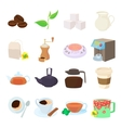 Coffee and tea icons set cartoon style vector image vector image