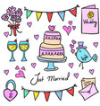 collection stock of wedding party in doodles vector image vector image
