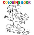 coloring book school boy theme 1 vector image