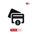 credit card icon with dollar sign vector image vector image