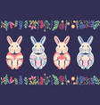 cute flat rabbits and pastel bunnies with hand vector image vector image