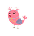 cute girly bird with ponytails pink bird vector image vector image