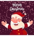 Cute Santa on dark snow backdrop vector image