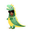 cute smiling afro american girl wear a dinosaur vector image vector image