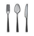 cutlery set sketch engraving vector image vector image