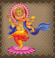 dancing ganesha on ornamented background vector image