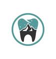 dental health modern logo on mountain vector image vector image