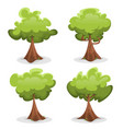 funny green trees set vector image vector image
