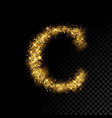gold glittering letter c on black background vector image