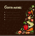 green menu eco foodset with vegetables on a dark vector image vector image