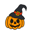 halloween pumpkin with witch hat halloween concept vector image vector image