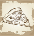 hand sketched pizza on vintage grunge background - vector image vector image