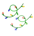 image of two christmas garlands with different lig vector image vector image