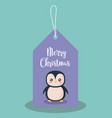 label with penguin of christmas vector image