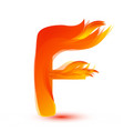 letter f in fire flame icon vector image
