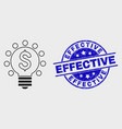 linear dollar light bulb icon and scratched vector image vector image