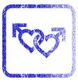 linked gay hearts framed textured icon vector image vector image