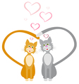 loves red and gray cats hearts vector image vector image