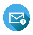 mail envelope message in flat style on round blue vector image