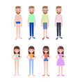 male and female characters in summer outfits set vector image