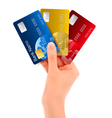 Male hand showing credit cards vector image vector image