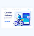 man on a bicycle delivers orders courier delivery vector image