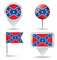 Map pins with Confederate flag vector image